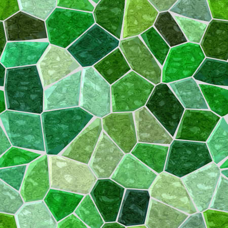 surface floor marble mosaic pattern seamless background with light gray grout - emerald green color Stock Photo