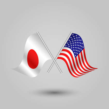 vector two crossed japanese and american flags on silver sticks - symbol of japan and united states of america Illustration