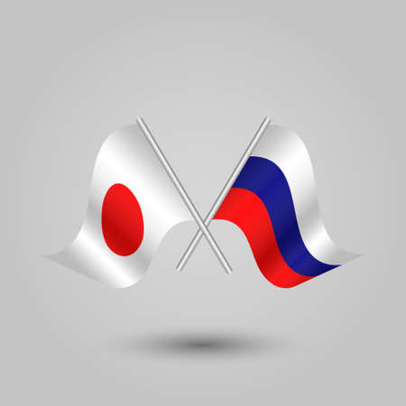 slanting: vector two crossed japanese and russian flags on silver sticks - symbol of japan and russia