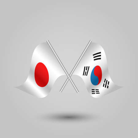 slanted: vector two crossed japanese and korean flags on silver sticks - symbol of japan and south korea