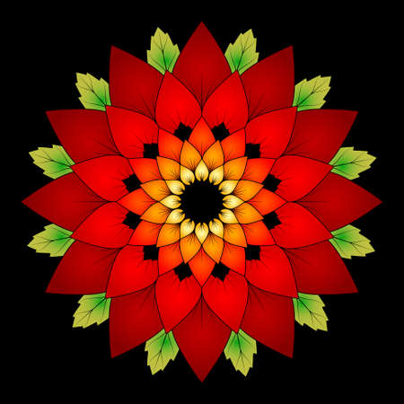 vector vibrant red colored round floral natural mandala on black background - adult coloring book page Illustration