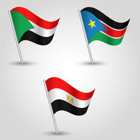 vector set of waving flags states of african nile valley on silver pole - icon of states sudan, south sudan and egypt Illustration