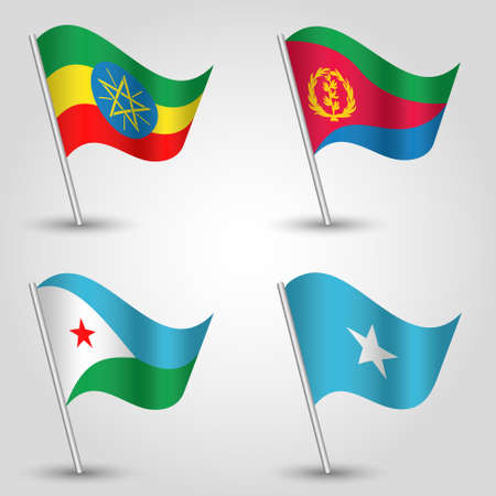 djibouti: vector set of waving flags east africa horn on silver pole - icon of states ethiopia, eritrea, djibouti and somalia