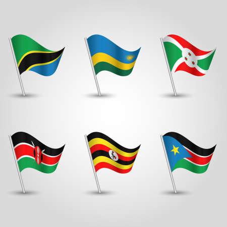 vector set of waving flags uganda, rwanda, burundi, kenya, tanzania and south sudan on silver pole - icon states of east african community 向量圖像