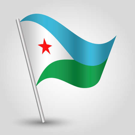 djibouti: vector waving simple triangle djiboutian flag on slanted silver pole - icon of djibouti with metal stick