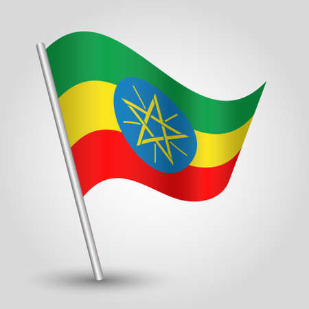 vector waving simple triangle ethiopian flag on slanted silver pole - icon of ethiopia with metal stick
