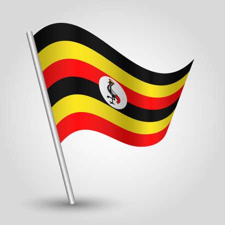 vector waving simple triangle ugandan flag on slanted silver pole - icon of uganda with metal stick Illustration