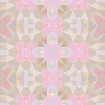 glasswork: mosaic kaleidoscope seamless pattern texture background - light pastel pink, gray and beige colored Stock Photo