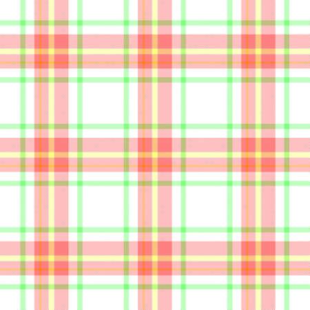 check diamond tartan plaid scotch fabric seamless pattern texture background - white, baby pink, green, yellow and orange color Stock Photo