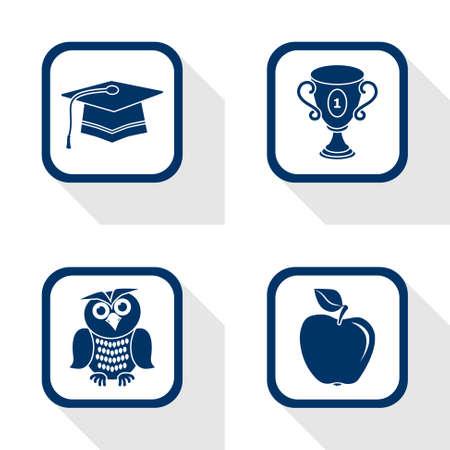 flat design icons education set - graduation, cup, apple, owl Illustration