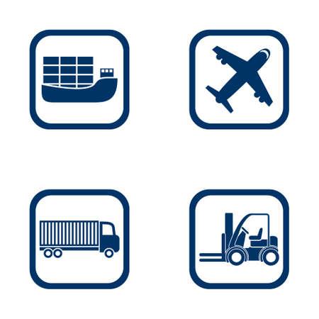 Platte ontwerp iconen export import set, vliegtuig, vrachtwagen en vorkheftruck