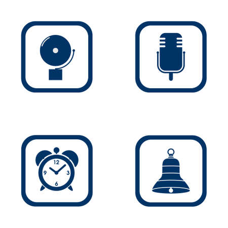 set of audible icons alarm bell, microphone, alarm clock and bell - vector blue flat icon of sound