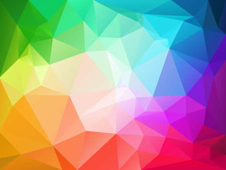 brilliancy: vector abstract irregular polygon background with a triangle pattern in full color spectrum rainbow with light reflection in the middle