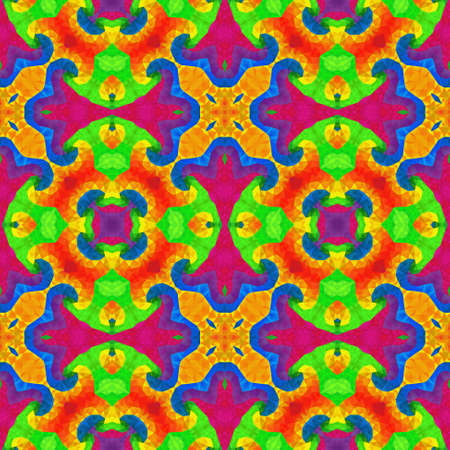 glasswork: mosaic kaleidoscope seamless pattern texture background - full spectrum colored with vibrant significant color Stock Photo