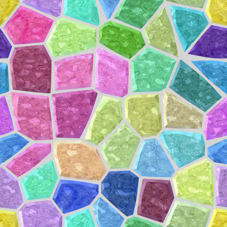 masonry: surface floor marble mosaic pattern seamless background with light gray grout - pastel full color spectrum