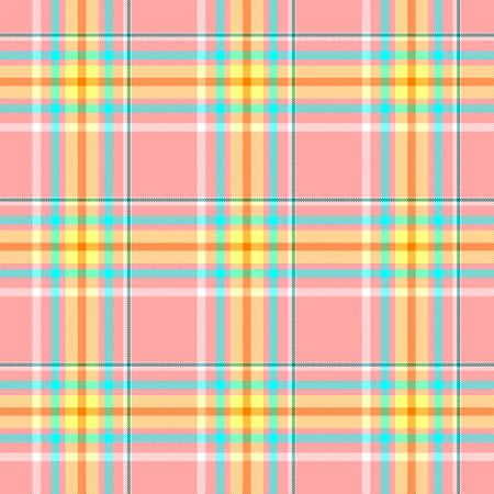 check diamond tartan plaid scotch fabric seamless pattern texture background - baby pink, yellow, blue and orange color Stock Photo