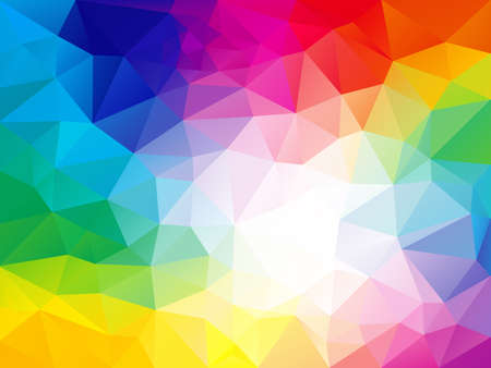 Vector abstract irregular polygon background with a triangle pattern in full color spectrum rainbow - white in the middle