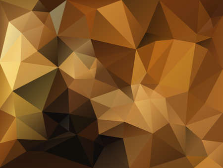 vector abstract irregular polygon background with a triangle pattern in gold, brown and beige color Illustration