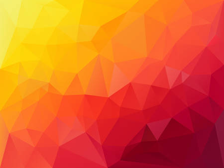 vector abstract irregular polygon background with a triangle pattern in vibrant hoz red orange yellow color gradient