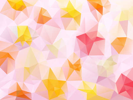 Vector abstract irregular polygon background with a triangle pattern in sweet pink, red, yellow and orange color. Illustration