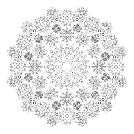 Vector black and white circular winter mandala with snowflakes - adult coloring book page.