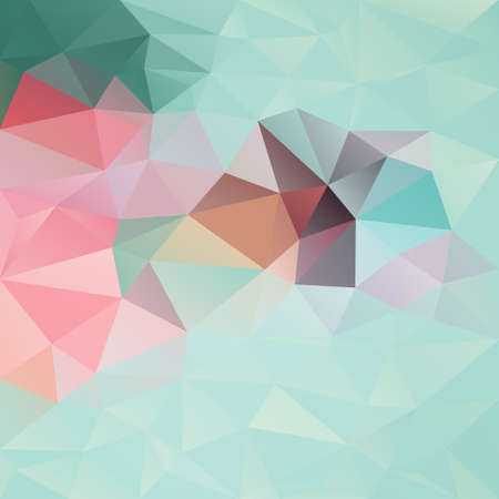 Vector abstract irregular polygon background with a triangle pattern in pastel mint green and pink color