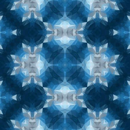 mosaic kaleidoscope seamless pattern texture background - dark blue and gray colored Stock Photo