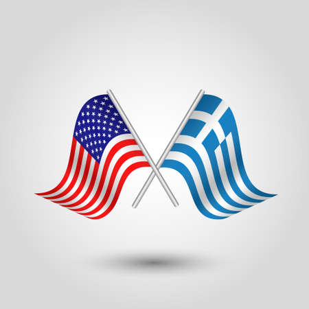 Two crossed American and Greek flags on silver sticks.
