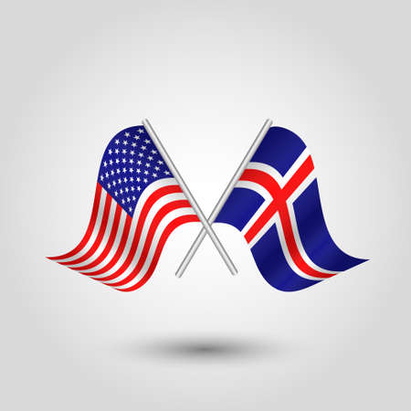 Two crossed american and icelandic flags on silver sticks - symbol of united states of america and iceland.