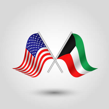 Two crossed american and kuwaiti flags on silver sticks - symbol of united states of america and kuwait. Illustration