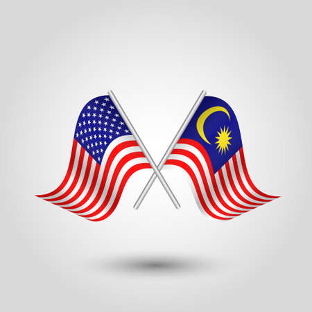 Two crossed american and malaysian flags on silver sticks - symbol of united states of america and malaysia.  イラスト・ベクター素材