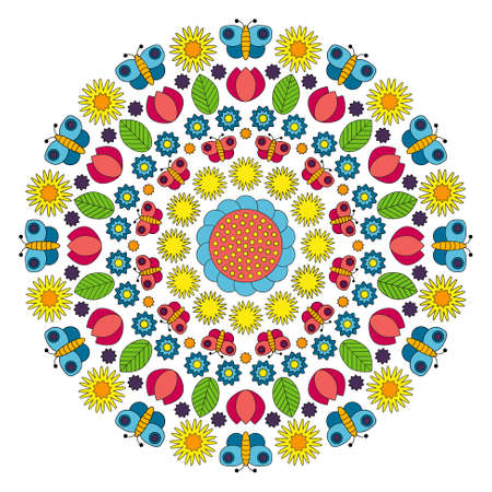 vector multi colored circular spring mandala with flowers, butterflies, leaves and tulips - adult coloring book page