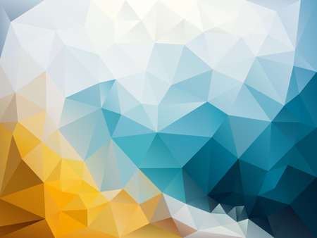 vector abstract irregular polygon background with a triangle pattern in sky blue, sand orange and ice white color  Illustration
