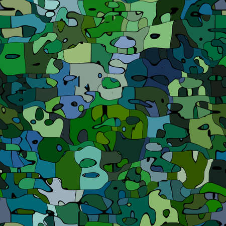 abstract stained pattern texture background military green and blue color with black outlines - modern painting art