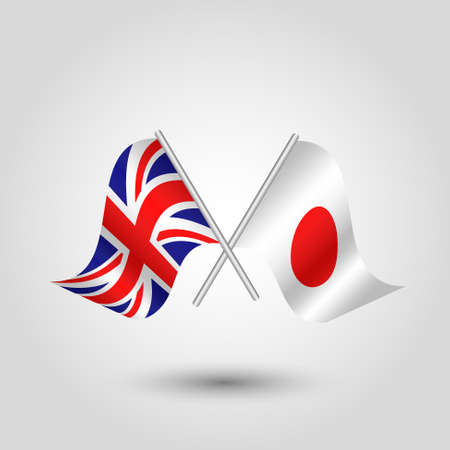 vector two crossed British and Japanese flags on silver sticks - symbol of united kingdom and japan Illustration