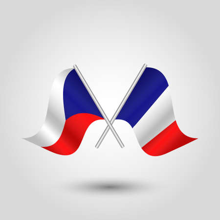 vector two crossed Czech and French flags on silver sticks - symbol of czech republic and france
