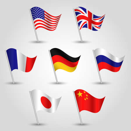 Vector set of waving flags seven great power states on silver pole.