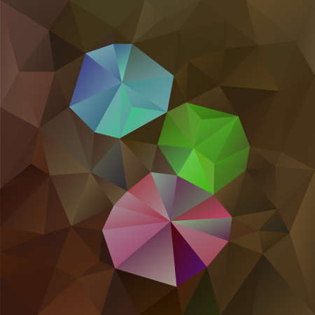 Vector  abstract irregular polygonal square background - triangle low poly pattern - dark brown opal color with pink , green and blue gemstones Vettoriali