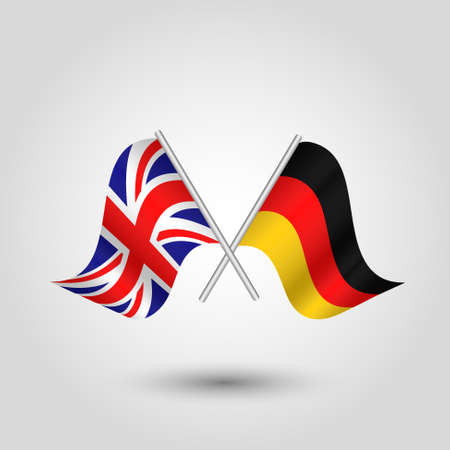 Vector two crossed British and German flags on silver sticks - symbol of united kingdom and Germany