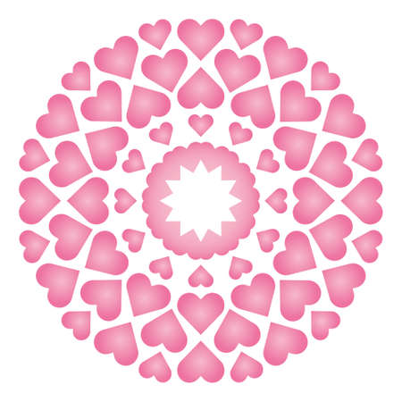 Vector colored circular round loving cute mandala with baby pink hearts - adult coloring book page.