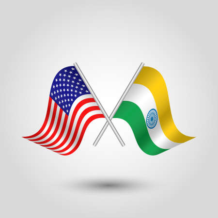 vector two crossed american and indian flags on silver sticks - symbol of united states of america and india Illustration