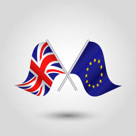 vector two crossed british and eu flags on silver sticks - symbol of united kingdom and european union
