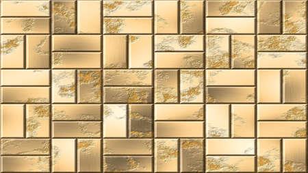 gold metal panels seamless pattern texture background - metallic bricks on wall