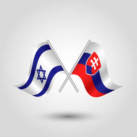 vector two crossed Israeli and Slovak flags on silver sticks - symbol of Israel and Slovakia Illustration