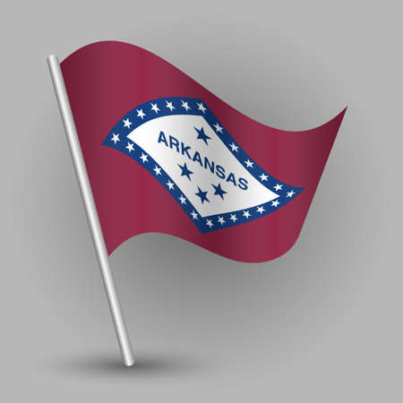 vector waving simple triangle american state flag on slanted silver pole - icon of Arkansas with metal stick