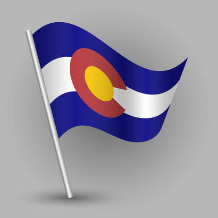 vector waving simple triangle american state flag on slanted silver pole - icon of Colorado with metal stick