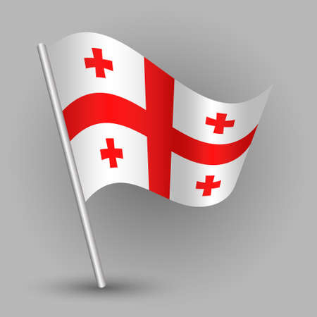 Waving simple triangle american state flag on slanted silver pole, icon of georgia with metal stick. Illustration