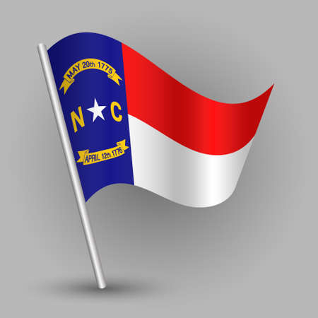 Waving simple triangle American state flag on slanted silver pole, icon of North carolina with metal stick.