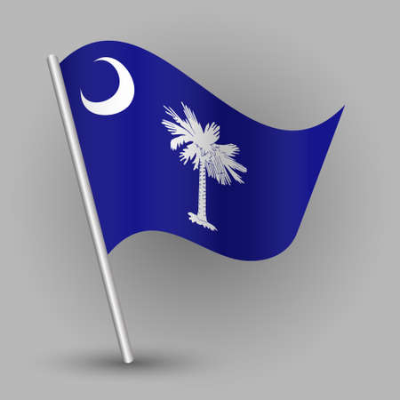 vector waving simple triangle american state flag on slanted silver pole - icon of south carolina with metal stick