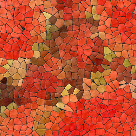 abstract nature marble plastic stony mosaic tiles texture background with black grout - red orange green khaki brown colors Stock Photo